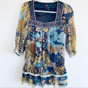 Lulumari Floral Drop Waist Embroidered Boho Top